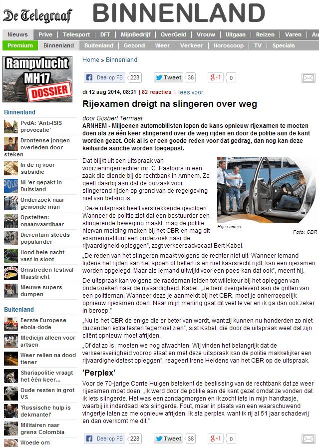 Artikel Telegraaf 12-8-14
