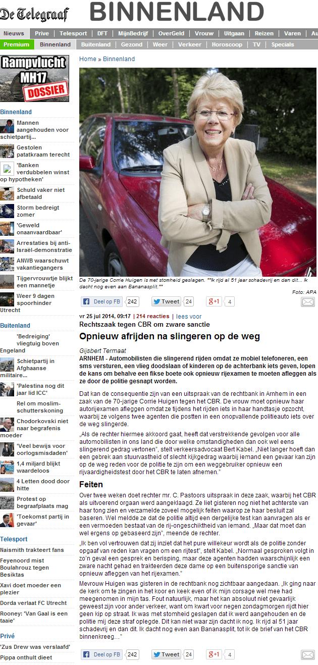 Artikel Telegraaf 25-7-14