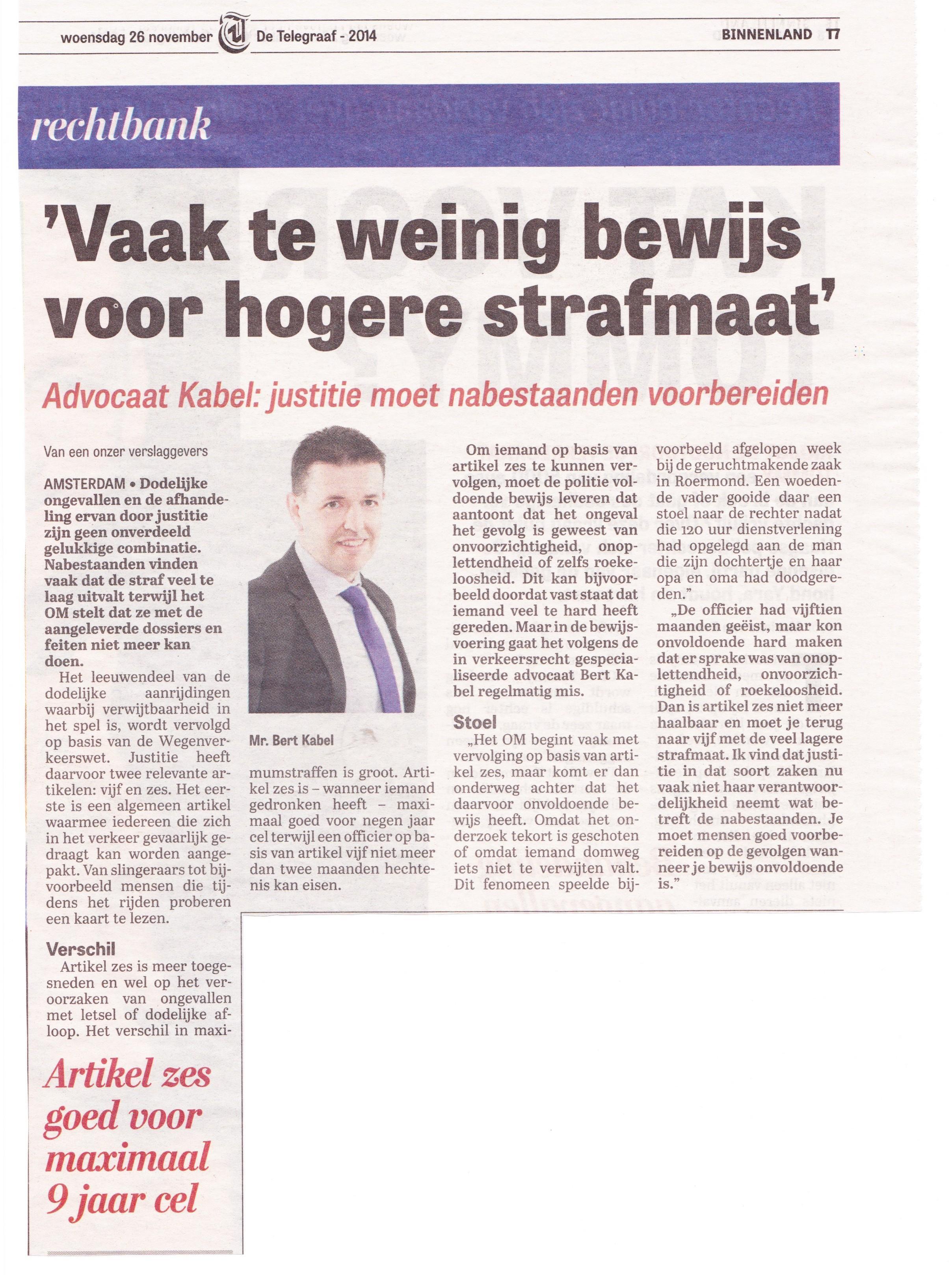 Artikel Telegraaf 26-11-14